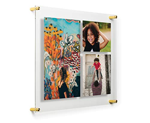 Popster Magnetic Single Panel Framing Grade Acrylic Floating Frame with Gold Hardware for 16x20-Inch Art & Photos ()