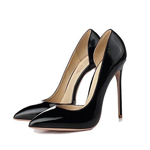UK4 zapatos femenina EU37 5 poco Negro con finos 12CM Tamaño boca 5 Color CN37 LHA altos tacones con sexy Negro club únicos punta Tacones negros nocturno negro TO1qqxgwB