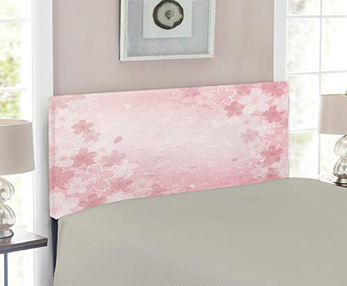 Cherry Size Twin Headboard (Ambesonne Nature Headboard for Twin Size Bed, Cherry Blossoms Pattern in Shabby Chic Style Flourish Themed Fashionable Artwork Print, Upholstered Metal Headboard for Bedroom Decor, Pink)