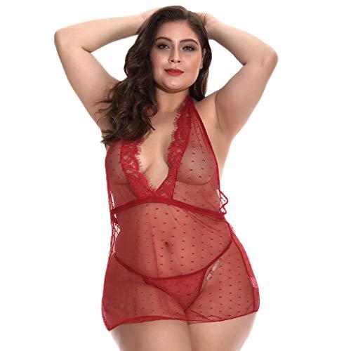 8ee318ea1c5 Women Lingerie Plus Size Nightwear Sexy Satin Mesh Sleepwear Lace Chemise  Mini Teddy Bodydoll (XL