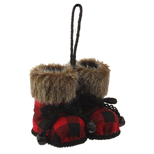 Christmas Cabin Red and Black Plaid Boot Ornament with Faux Fur Cuff (Plaid Christmas Ornaments)