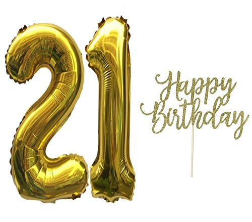 21st Birthday Balloons,21st Birthday Decorations,Number 21 Gold 32 Inch,with Happy Birthday Cake Topper