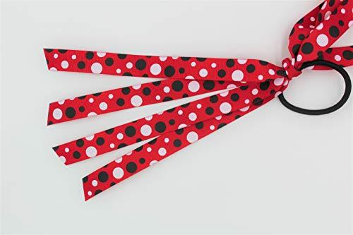 Polka Dot Ribbon Ponytail Hair Tie Ribbon Streamers Red Black White by Missy Moo Designs