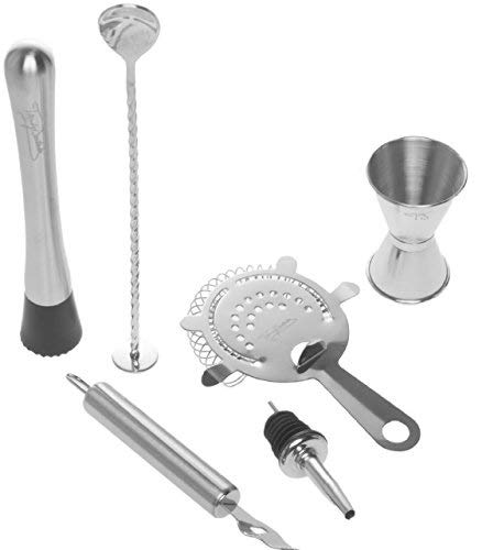 - Bar Tool Essentials Deluxe - Bar Set with 6 Crafted Stainless Steel Bar Tools for Your Bar Cart by Trendy Bartender - Muddler, Cocktail Spoon, Jigger, Pourer, Zester & Strainer - Mix With Style