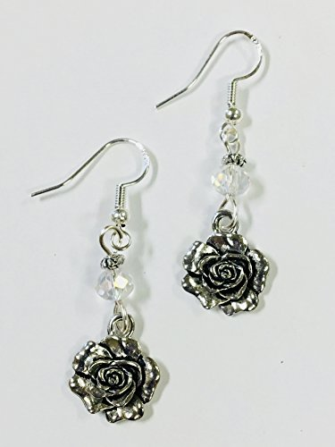 Rose Earrings, Kappa Delta, Phi Sigma Sigma mascot charm Earrings, with a clear faceted crystal accent bead, on sterling silver earwires