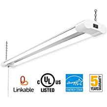 Amico Linkable LED Utility Shop Light,4FT Integrated Double-Fixture,40W(100W Eq)4000 Lumens 5000K Daylight,with Pull Chain Switch for Workshop Garage Basement (1 pack)