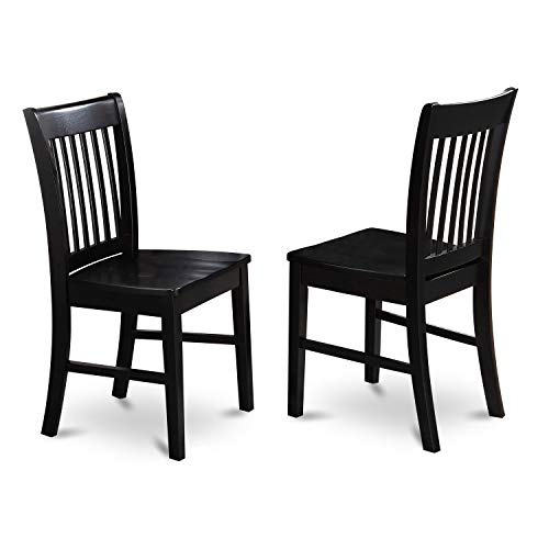 East West Furniture NFC-BLK-W Norfolk kitchen chairs - Wooden Seat and Black Solid wood Structure wooden dining chair set of 2