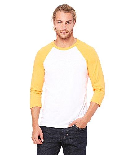 Bella + Canvas Unisex 3/4-Sleeve Baseball T-Shirt, XS, WHT/NEON ORANGE