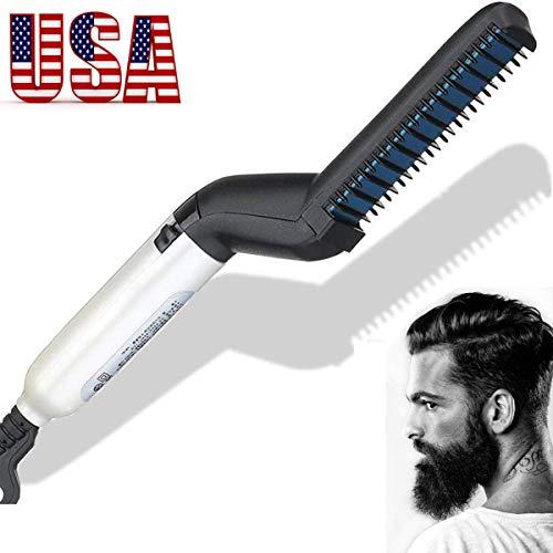 Electric Hair Straightener Brush,Men Quick Beard Straightener Styler Comb,Hair Straightening,Curly Hair Straightening Comb,Side Hair Detangling,Multifunctional Hair Curling Curler (White)