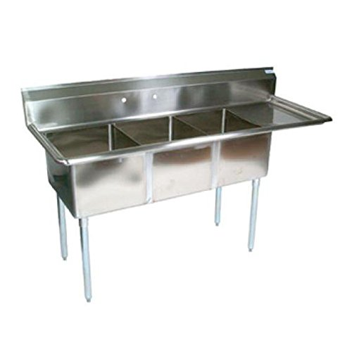 John Boos E3S8-1824-14R24 3-Compartment Sink w/Right Drainboard by John Boos
