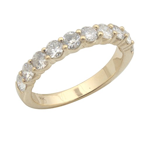 Brand New 1.00Ct Round Brilliant Cut Real Diamond Wedding & Anniversary Band, 14k Yellow Gold, Size 8.5 by Prism Jewel