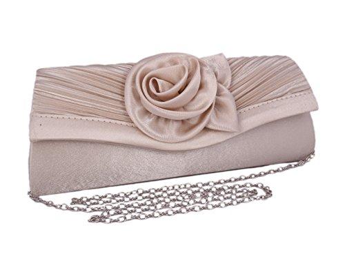 Flower Vintage Gold Adoptfade Clutch Dinner Bag Satin Pleated Womens Champagne Evening Rz4YEz