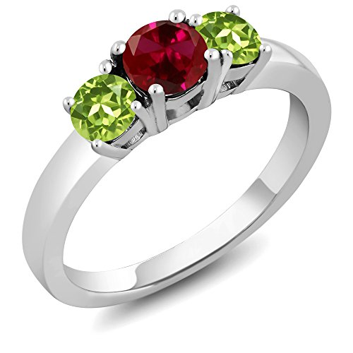 1.20 Ct Round Red Created Ruby Green Peridot 925 Sterling Silver 3-Stone Ring (Available in size 5, 6, 7, 8, (Round Peridot 3 Stone Ring)