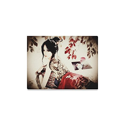 Canvas Print Japanese Art Geisha Girl Modern Wall Art for Home Room Office Decoration (16x12 inch)