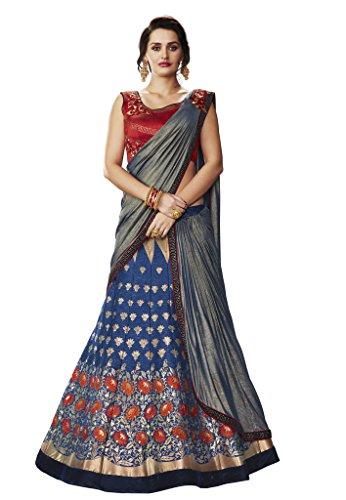 - DesiButik's Wedding Wear Gorgeous Blue Silk Lehenga Saree