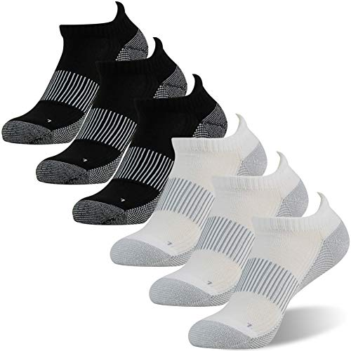 FOOTPLUS Unisex Copper Moisture Wicking Antibacterial Ankle Running Socks, 3 White& 3 Black, Large