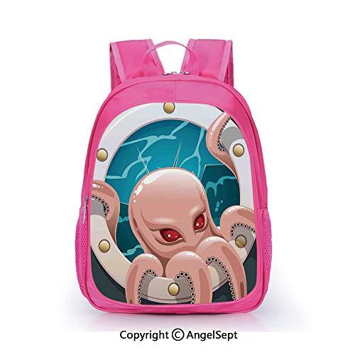 (Fashion Kindergarten Children Waterproof Bookbag,Kraken Octopus with Tentacles in Ship Porthole Cartoon Style Illustration Retro Art Grey Pink Blue,15.7inch,Elementary School Travel Bag For Girls And)