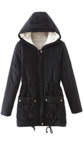 3 4 Length Coats - Ecupper Women's Winter Mid Length Thick Warm Faux Fur Lined Coat Parka with Hood (Black,US 2-4/Tag M)
