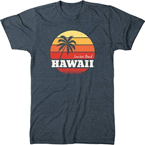 Trunk Candy Lanikai Beach Hawaii Sunset Palm Men's Modern Fit T-Shirt (Indigo, Medium) (Beach Indigo Palm)