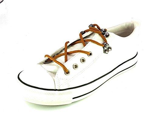 generico Shoes Scarpe da Passeggio Ginnastica Sneakers Donna Ragazza Moda TG 40 Colore Bianca Tessuto Fin Pelle Lucida con Lacci Modello Tipo Converse