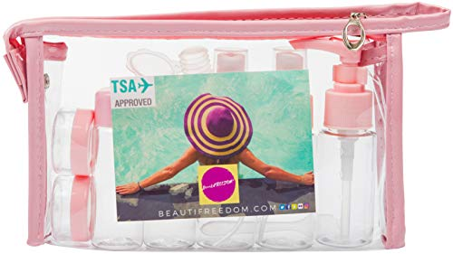 Airline Refillable Travel Bottles TSA Approved Set with Travel Bottle - Leak Proof - Can Be Gift-Wrapped - BPA-Free with 3-1-1 Containers for Liquids (Shampoo, Perfume) Toiletry Bag (Coral Pink)