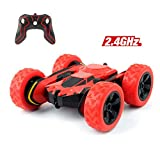 Cocopa RC Car Off Road 2WD Stunt Car 2.4GHz Red Remote Control Racing Vehicle High Speed 7.5MPH 360 Degree Rolling Rotation (Battery Not Included) - Toy Car for Kids