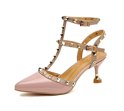 QXH Zapatos de Mujer Sandalias de Tacón Puntiagudo Boca Superficial de la Hebilla del Cinturón Pink
