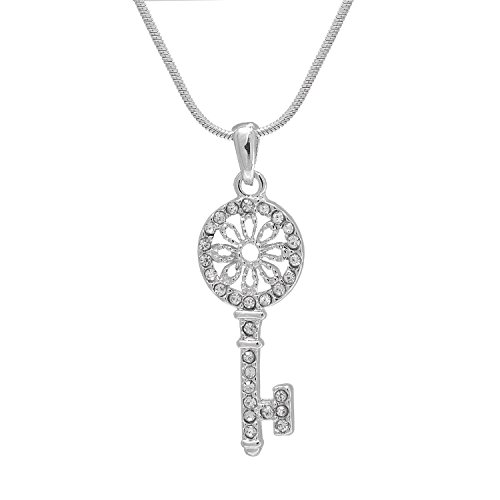 Spinningdaisy Silver Plated Floral Round Key Necklace