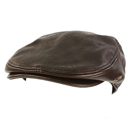 Men's Sleek Winter Fall Faux Leather Ivy Driver Cab Flat Cap (Cab Driver Hats)