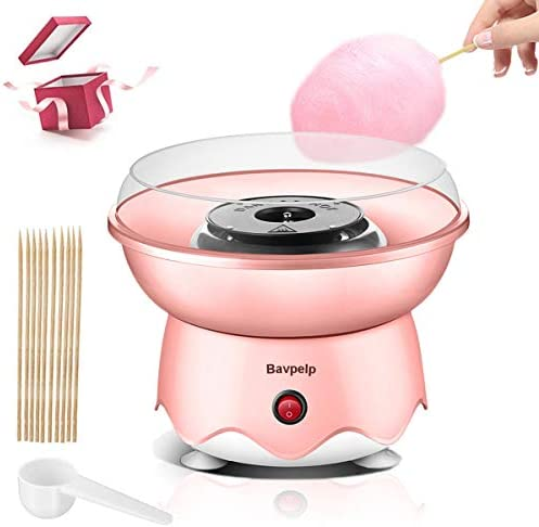 Cotton Candy Machine Bavpelp Professional Cotton Candy Floss Maker with Stainless Steel Bottom Groove and Ceramic Heating Tube Electric Cotton Candy Maker Includes 10 Reusable Cones & Sugar Scoop