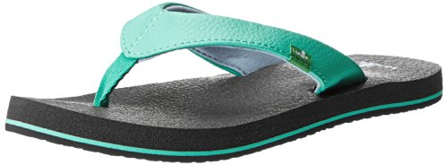 Sanuk Kids Yoga Mat Flip Flop, Aqua/Sky, 4/5 M US Big Kid