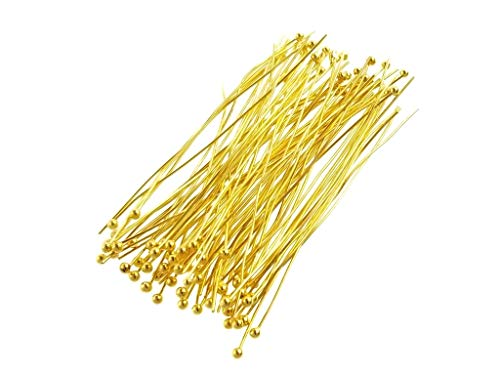 Gold Plated Brass Ball Head Pins for Jewelry Making, Earrings- Nickel Free (50mm x 24 Gauge) 2 Inch