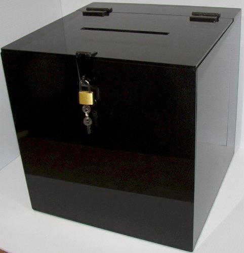 Marketing Holders Lot of 1 - Black Acrylic Ballot Box 10'' X 10'' X 10'' by Marketing Holders