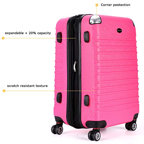 Expandable Carry On Luggage, Lightweight Spinner Carry Ons, Travel Collection TSA Carry On Luggage 20 inches (Pink) by Travel Joy (Image #4)