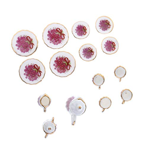 NATFUR 17PCS 1:12 Dolls House Miniatures Dining Ware Tea Set Purple Flower Pattern