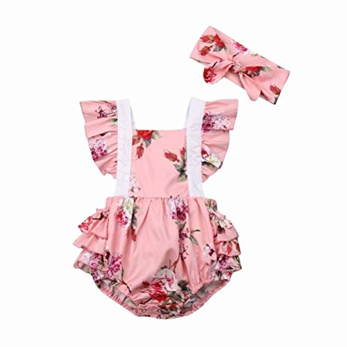 2PCS Toddler Girls Layette Sets Floral Romper Jumpsuit Cotton Flutter Sleeve One-Piece Romper Outfits Clothes+Headband Pink