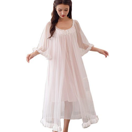 Singingqueen Womens Sexy Vintage Loungedress Nightgown 2 pcs Victorian Sleepwear Nightshirt Girls Pajamas (Light Pink)