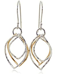 Two Tone Earrings Graduated Twisted Hoops in 925 Sterling Silver & 14k Gold Filled Chic Women's Jewelry