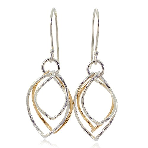 Two Tone Earrings Graduated Twisted Hoops in 925 Sterling Silver & 14k Gold Filled Chic Women's - Dangle Diamond Hoop