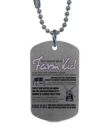CARONECK Awesome Farmer Necklaces, You Might Be A Farm Kid Dog Tag (Dog Tag Necklaces - Silver)