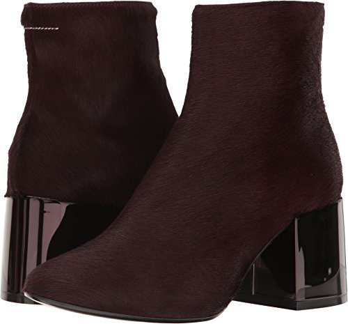 Maison Margiela Mm6 Womens Ankle Boot Bordeaux Leather