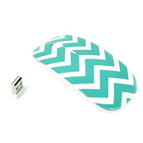 TopCase Chevron Series Turquoise / Hot Blue USB Optical Wireless Mouse for Macbook (pro , air) and All Laptop + TopCase Designed Chevron Mouse Pad