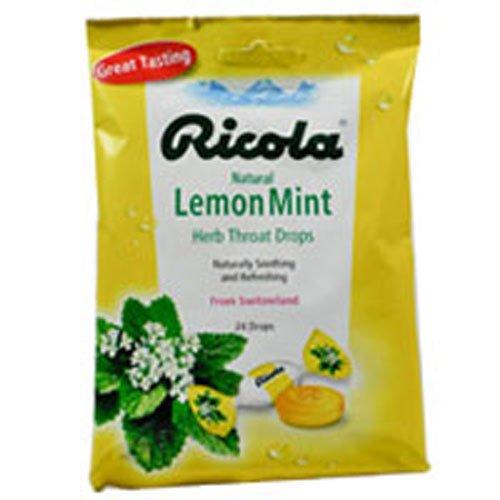 Ricola Herb Throat Drops Natural Lemon Mint 24 Each (Pack of 3)