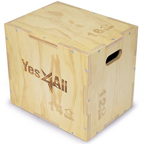 Yes4All Wood Plyo Box/Wooden Plyo Box for Exercise, Crossfit Training, MMA, Plyometric Agility - 3 in 1 Plyo Box/Plyo Jump Box (16/14/12)