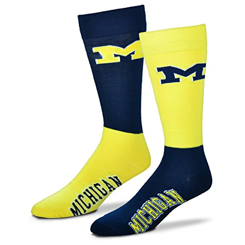 For Bare Feet NCAA 4-Square Mismatch Socks-Size Large (10-13) (Michigan Wolverines)