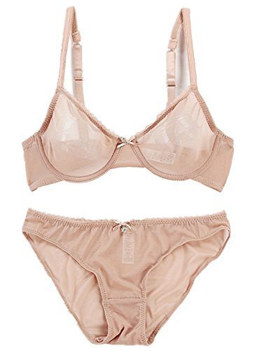 See Through Bra and Panty Set for Women Underwire Supportive Lift Up Lingerie Set with Jewel 32B Beige