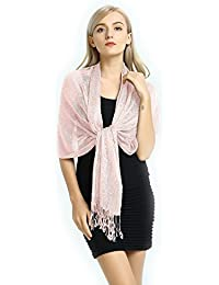 Party Queen Women Wedding Evening Wrap Shawl Metallic Scarf with Fringe