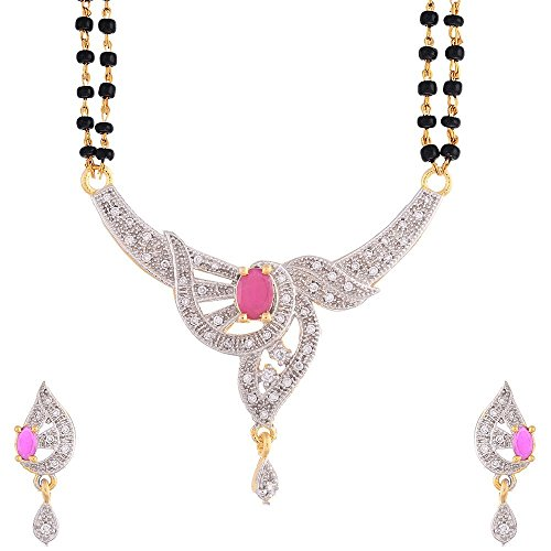 Zeneme American Diamond Gold Plated Signature Collection Mangalsutra with Chain for Women