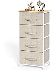 4 Drawer Fabric Dresser Storage Tower, Dresser Chest with Wood Top, Organizer Unit for Closets Bedroom Nursery Room Hallway by Pipishell