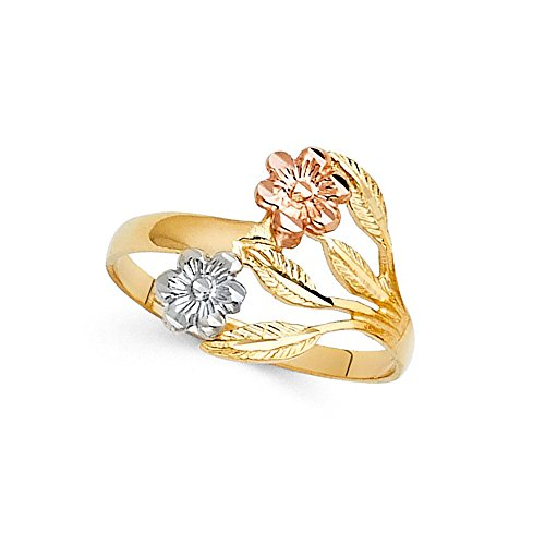 - 14k Yellow White Rose Gold Two Flowers Ring Fancy Floral Band Diamond Cut Solid Tri Color 15MM Size 7